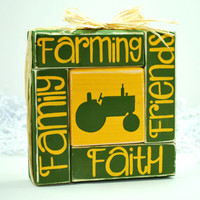 Faith Friends Family Farming John Deere inspired WoodenBlock Shelf Sitter Stack