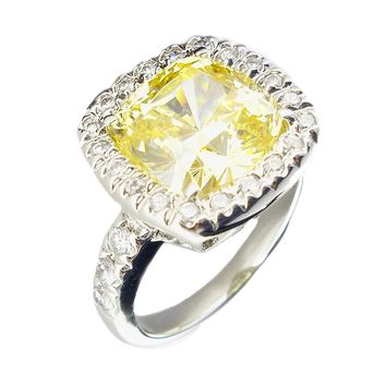 5 CT. Diamond Veneer Extra Sparkle Halo Cushion Cut Ring Embellished with Top pave shank on Shoulders 635R7124