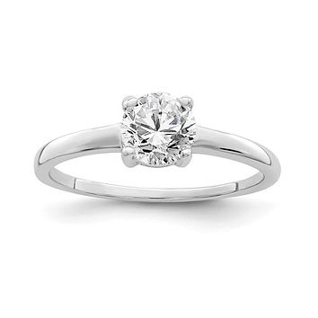 Sterling Silver Round Solitaire Round CZ Ring