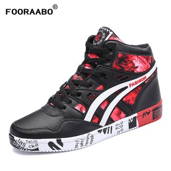 Fooraabo 2017 New Print Luxury Mens Casual Shoes Flat Autumn Winter Hip Hop High Top Men Sneaker PU Leather Shoes Big Size:38-45