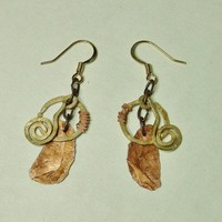 Gold plated copper rustic modern design surgical steel earrings