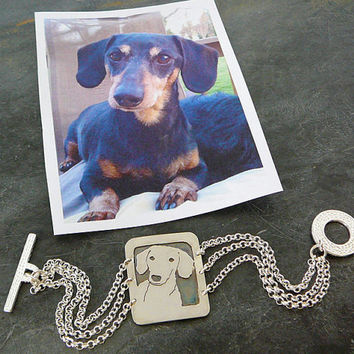 Bracelet, Dog Art, Sterling Silver, Custom, personalized Pet .. Your Dog as a Pendant Bracelet.. Solid Back, Head Shot Body