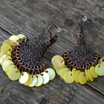 Ethnic yellow Chandelier Earrings Mother of the Pearl Earrings Gypsy Earrings Boho Earrings Tribal Earrings Hippie Earrings Gypsy Jewelry