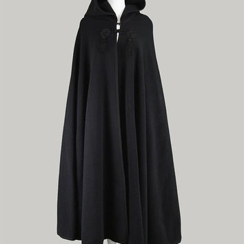 Vintage 60s HARRODS Black Wool Cape Maxi Cape Coat Womens Cloak Gothic Cape Fringe Cape Long Black Cape 1960s Boho Clothing 60s Tassel Cape