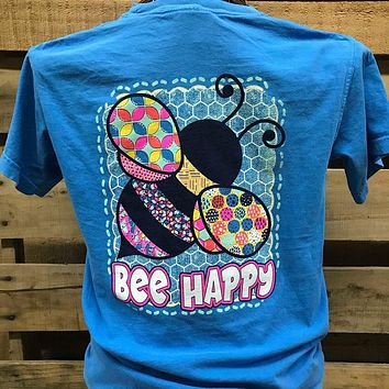 Southern Chics Bee Happy Girlie Bright T Shirt