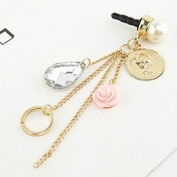 Earphone Jack Accessory Plated Gold OrangePink Resin Flower Round Antique Coins Silver Crystal Pearls Cell Charms / Dust Plug / Ear Jack