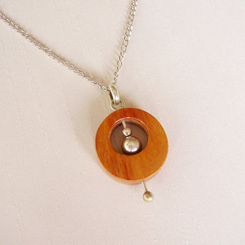 Sterling Silver and Rose Wood Pendant - Circle Pendant with moving ball in the center - Simple Delicate Original Contemporary Necklace