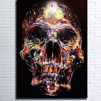 Abstract painted style skull 1  piece canvas wall art panel picture print