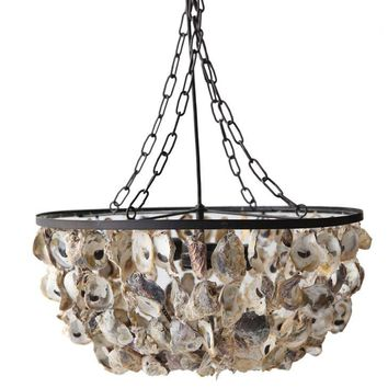 Oyster Shell Chandelier -- 20-in