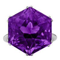 Art Deco Hexagon Amethyst Ring