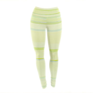 "CarolLynn Tice ""Lemons"" Lime Yellow Yoga Leggings"