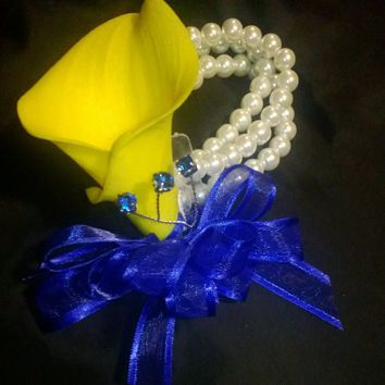 Real Touch Yellow Royal Blue Calla Lily Wrist Corsage, Mother's Corsage, Prom Corsage, Yellow corsage, Wristlet Bride Bridesmaid Flower