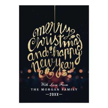 Black & Gold Christmas & Happy New Year Typography Card