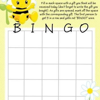10 Bee Baby Shower Bingo Cards