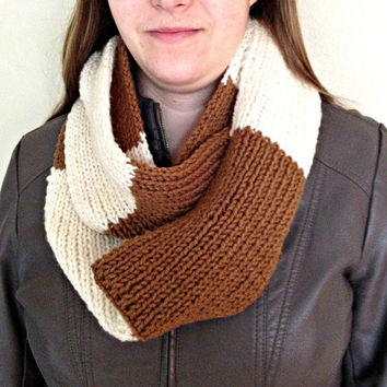 Infinity scarf, handknit scarf, knit scarf infinity, mobius scarf, brown scarf, striped scarf, chunky scarf, cream scarf, winter accessories