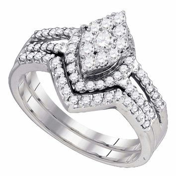10kt White Gold Women's Round Diamond Oval Cluster Bridal Wedding Engagement Ring Band Set 3/4 Cttw - FREE Shipping (US/CAN)