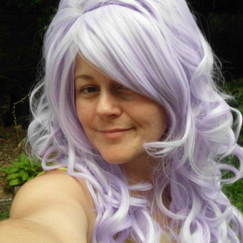 Purple Wig, Bump Wig, Long Curly, pastel, lavender wig, Marie Antoinette Wig, Lolita, Curly, Drag Queen, side swept bangs, scene hair,