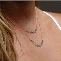 Women's Ladies Fashion Crystal Beads Multilayer Clavicle Necklace