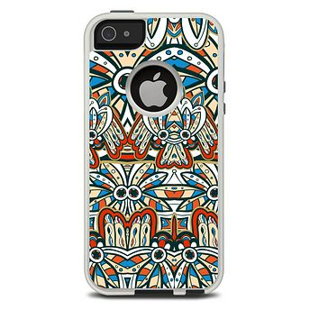 The Decorative Blue & Red Aztec Pattern Skin For The iPhone 5-5s Otterbox Commuter Case