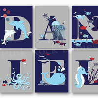 Sea life baby boy name art nautical personalized nursery letters custom wall decor letterpress poster typography navy blue grey toddler gift