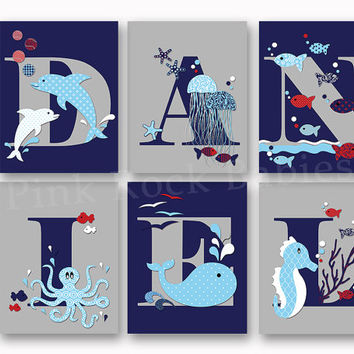 Sea Life Baby Boy Name Art Nautical Personalized Nursery Letters Custom Wall Decor Letterpress Poster Typography