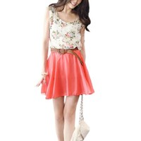 Women Flower Print Scoop Neck Sleeveless Elastic Waist Chiffon Dress