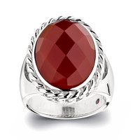 Red Agate With Chain Design Bezel Ring