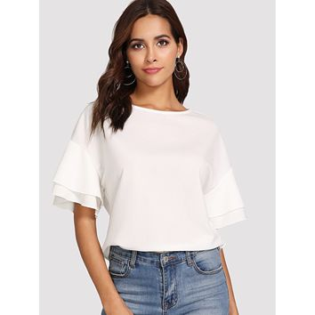 Beige Drop Shoulder Layered Sleeve Top