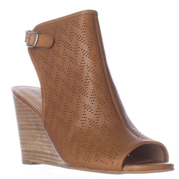 Lucky Brand Risza Perforated Wedge Peep Toe Sandals - Cashew