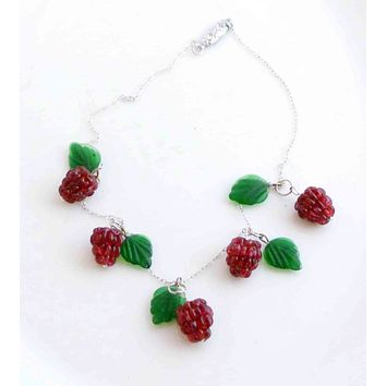 Berries, Sterling Silver Glass Leaves and Raspberries Necklace, Czechoslovakia
