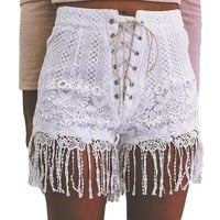 White Lace Shorts Women Fashion High Waist Tassel Hem Lace Up Shorts Summer Women Boho Style Hot Shorts