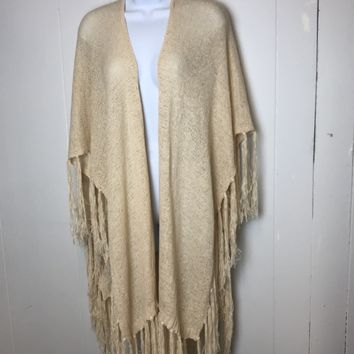 Cream Fringed Knitted Cover Up Vest