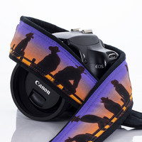 Camera Strap dSLR, Cowboy, Purple Sunset, Cowgirl, Western, SLR, Camera Neck Strap, Canon Nikon Camera Strap, Men's Camera Strap,  251