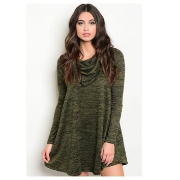 """Adorable Me"" Cowl Neck Deep Green Pepper Tunic Dress"