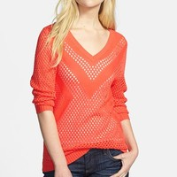 Two by Vince Camuto Placed Pointelle V-Neck Sweater