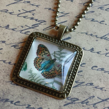 "Victorian Butterflies Steampunk Vintage Style Square Glass Cabochon Antiqued Brass Geometric Pendant Necklace 27"" Ball Chain #BFL-19"