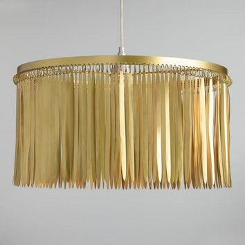 Feathered Antique Brass Drum Pendant Shade