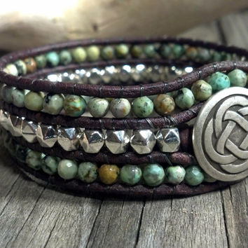Southwest Chic African Turquoise Beaded Leather Cuff Bracelet, Beaded Leather Wrap Bracelet, Gemstone Bracelet,