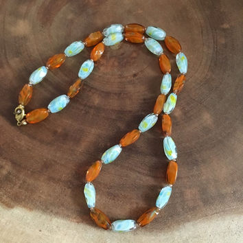 Orange, Light Blue, Gold Beaded Glass Necklace, Under 20 Dollars, Spring Jewelry, Gift for Her, Mother's Day Gift