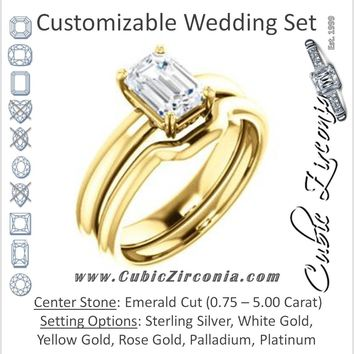 CZ Wedding Set, featuring The Marie Rosalind engagement ring (Customizable Emerald Cut Solitaire with Tooled Trellis Design)