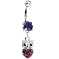 Purple Gem and Paved Heart For the Love of Owls Dangle Belly Ring | Body Candy Body Jewelry