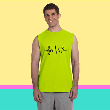 Heart Rate Pulse Music Note Clef Electro Classic Sleeveless T-shirt
