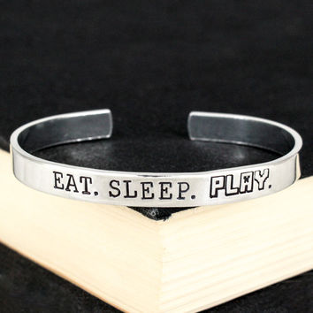 Eat. Sleep. Play. - Pixel Games - Video Games - Aluminum Bracelet