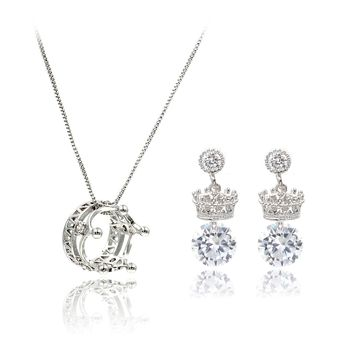 shiny crown crystal earrings necklace set