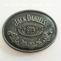 New Fashion Jack Daniels Old No. 7 belt buckles 103*78mm Oval Silver metal For 4cm Wide Belt Classic Men Women Jeans accessories