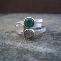 Stacking Hand Stamped Ring with Birthstone by by donnaOdesigns