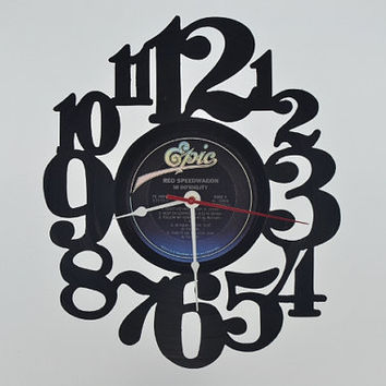 Music Art Unique Handmade Vinyl Record Clock (artist is REO Speedwagon)