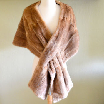 Vintage Mink Fur Stole, Golden Brown Fur Wrap or Shawl, Bullock's Furs Los Angeles, circa 1950s-1960s