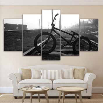 Bicycle Bike on Railroad Tracks Black And White Panel Picture Wall Art Poster