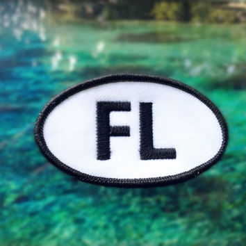 "Florida FL Patch - Iron or Sew On - 2"" x 3.5"" - Embroidered Oval Appliqué - The Sunshine State - Black White Hat Bag Accessory Handmade USA"
